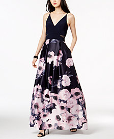Xscape Illusion-Inset Solid & Floral-Print Gown