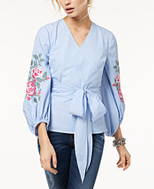 I.N.C. Embroidered Striped Blouse, Created for Macy's