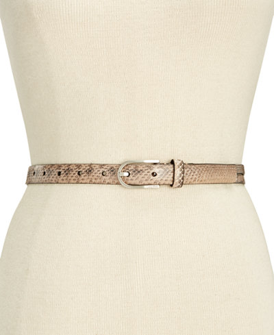 Calvin Klein Python-Embossed Leather Skinny Belt