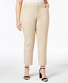 Charter Club Plus Size Tummy Control Slim-Leg Pants, Created for Macy's