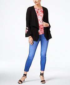 Thalia Sodi Embroidered Cardigan, Embellished Top & Jeggings, Created for Macy's