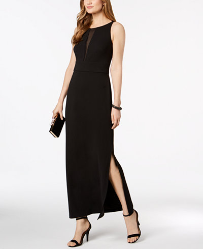 Connected Illusion-Inset Slit Gown