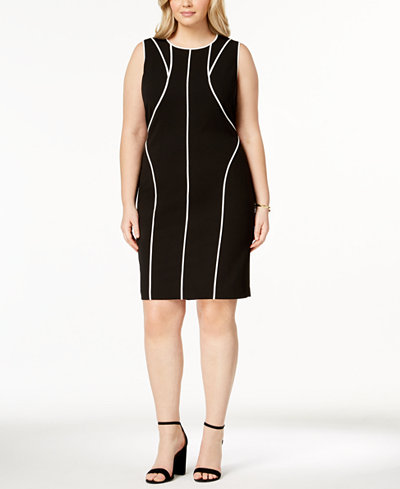 Calvin Klein Plus Size Piping-Trim Sheath Dress