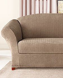 Sure Fit Stretch Pinstripe 2-Piece Loveseat Slipcover