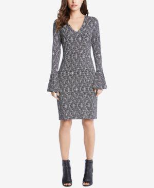Karen Kane Printed Bell-Sleeve Dress 5535417