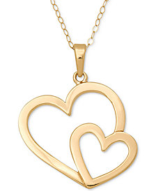 Open Double Heart Pendant Necklace in 14k Gold