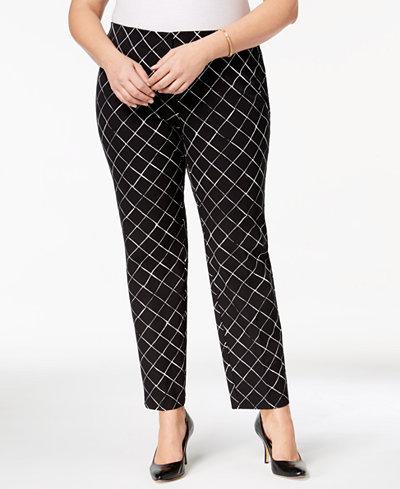 Alfani Plus Size Printed Slim Pants, Created for Macy's