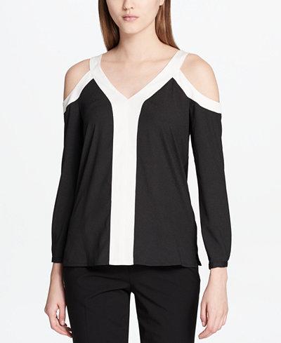 Calvin Klein Colorblocked Cold-Shoulder Top, Regular & Petite