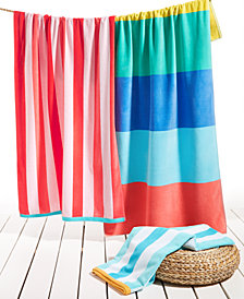 Martha Stewart Collection Stripe Pattern Beach Towel Collection, Created for Macy's