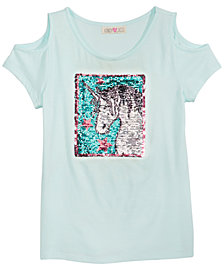 Kandy Kiss Reversible-Sequin Unicorn Cold Shoulder Top, Big Girls