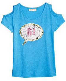 Kandy Kiss Reversible Sequin Cold Shoulder Top, Big Girls