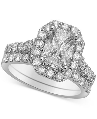Diamond Halo Cluster Ring Set (2-1/2 ct. t.w.) in 14k White Gold