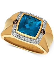 Gents™ Men's London Blue Topaz (4-1/8 ct. t.w.) & Diamond (1/5 ct. t.w.) Ring in 14k Gold