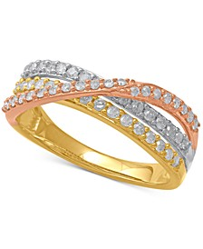 Diamond Tri-Color Crisscross Statement Ring (1/2 ct. t.w.) in 14k Gold, Rose Gold & White Rhodium-Plate
