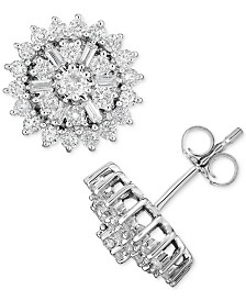 Diamond Starburst Cluster Stud Earrings (1 ct. t.w.) in 14k White Gold
