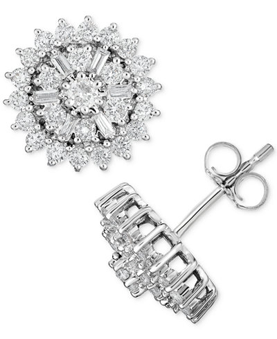 Diamond Starburst Cluster Stud Earrings (1 ct. t.w.) in 14k White Gold
