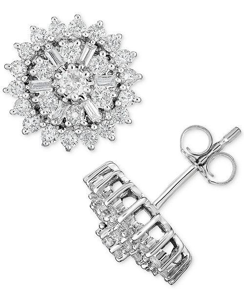 Macy's Diamond Starburst Cluster Stud Earrings (1 ct. t.w.) in 14k White Gold