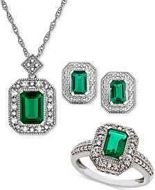 Lab Created Emerald (2-3/8 ct. t.w.) & White Sapphire (1/4 ct. t.w.) Pendant Necklace, Stud Earrings & Ring Set in Sterling Silver