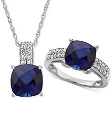 Lab Created Sapphire (6-5/8 ct. t.w.) & White Sapphire (5/8 ct. t.w.) Pendant Necklace & Ring in Sterling Silver