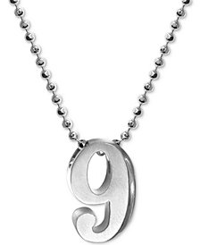 Alex Woo Number 9 Pendant Necklace in Sterling Silver