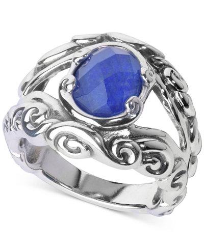 Carolyn Pollack Lapis Lazuli/Rock Quartz Openwork Statement Ring (3 ct. t.w.) in Sterling Silver