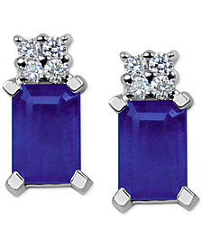 Tanzanite (1-1/5 ct. t.w.) & Diamond Accent Stud Earrings in 14k White Gold