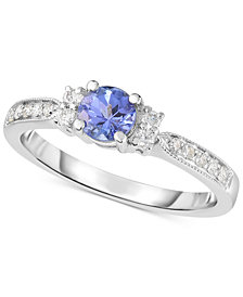 Tanzanite (1/2 ct. t.w.) & Diamond (1/6 ct. t.w.) Ring in 14k White Gold