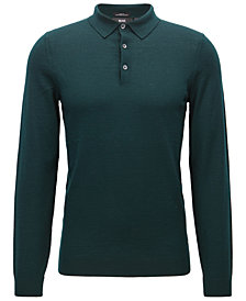 BOSS Men's Slim-Fit Merino Wool Long-Sleeve Polo