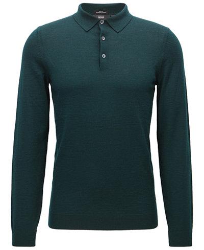 BOSS Men's Slim-Fit Merino Wool Long-Sleeve Polo