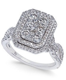 Diamond Multi-Halo Cluster Engagement Ring (1-5/8 ct. t.w.) in 14k White Gold