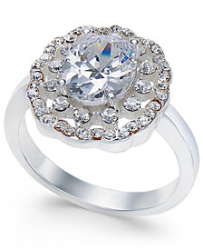 Charter Club Silver-Tone Crystal Cluster Ring, Created for Macy's