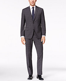 CLOSEOUT! Michael Kors Men's Classic-Fit Charcoal Windowpane Suit