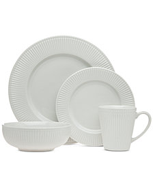 CLOSEOUT! Godinger Republique 16-Pc. White Embossed Dinnerware Set, Service for 4