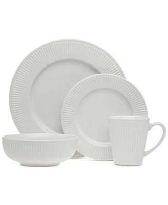 CLOSEOUT! Godinger Republique 16-Pc. White Embossed Dinnerware Set, Service for 4