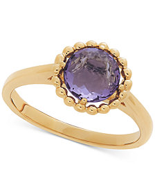 Amethyst Beaded Frame Ring (1-1/6 ct. t.w.) in 10k Gold