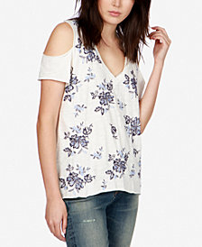 Lucky Brand Cotton Embroidered Cold-Shoulder T-Shirt, Created for Macy's
