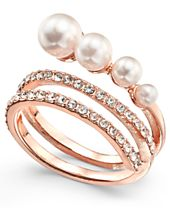 I.N.C. Rose Gold-Tone Pavé & Imitation Pearl Wrap Ring, Created for Macy's