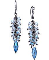 I.N.C. Hematite-Tone Pavé & Blue Shaky Bead Chandelier Earrings, Created for Macy's