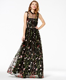 City Studios Juniors' Ruffle-Trim Embroidered Gown, Created for Macy's