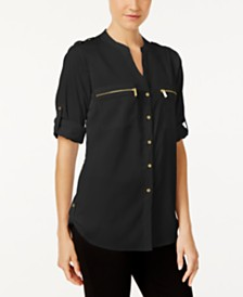 Calvin Klein Zip-Pocket Utility Blouse