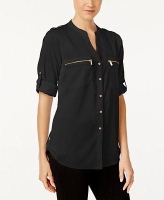Calvin Klein Zip Pocket Utility Blouse Tops Women Macy S