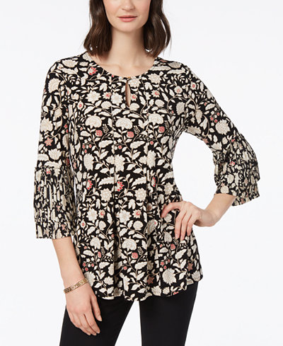 Charter Club Pleated Floral-Print Top, Created for Macy's
