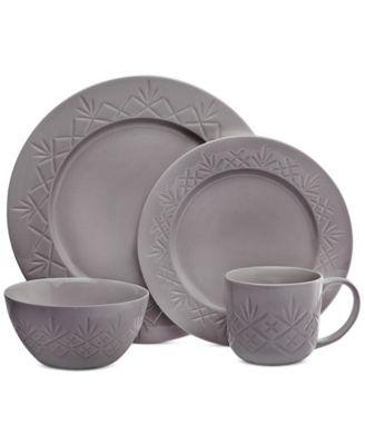 Dublin Gray 16-Pc. Dinnerware Set, Service for 4