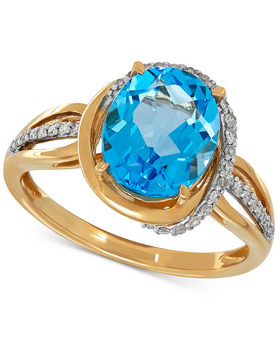 Blue Topaz (3 ct. t.w.) & Diamond (1/6 ct. t.w.) Ring in 10k Gold