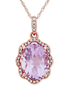 "Amethyst (2-5/6 ct. t.w.) & Diamond (1/10 ct. t.w.) 17"" Pendant Necklace in 10k Rose Gold"
