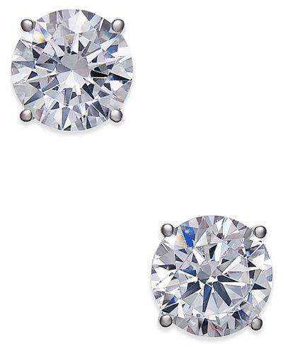 Certified Diamond Stud Earrings 2 Ct T W In 18k White Gold