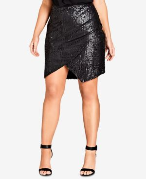 TRENDY PLUS SIZE SEQUINED MINI SKIRT