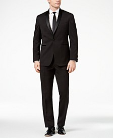 Men's Ready Flex Slim-Fit Stretch Black Shawl-Lapel Tuxedo