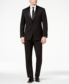 Kenneth Cole Reaction Men's Ready Flex Slim-Fit Stretch Black Shawl-Lapel Tuxedo