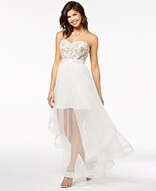 Say Yes to the Prom Juniors' Embellished Strapless Gown, Created for Macy's